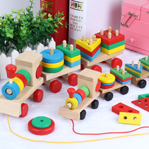 Wooden childrens educational toys Montessori geometry set column 1-2-3 years old building blocks small train assembly