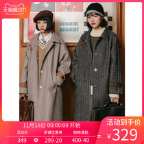 omont egg tarts home retro woolen coat women in the long section herringbone coat 2019 new autumn and winter