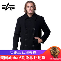 Alpha Alpha Industrial Navy coat male thick peacoat outdoor woolen coat 740 military fan windbreaker
