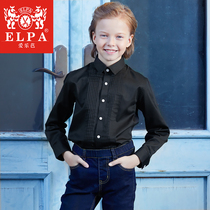 ELPA boys shirt children's dress shirt solid color cotton performance long-sleeved shirt wild Korean students