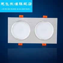 LED10 * 20 double-eye downlight 12 * 24 two grille 8x16 opening double long square hole lamp 15x30cm