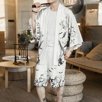 Summer Chinese style suit mens short-sleeved Tang suit coat trend kimono two-piece casual loose youth hanfu