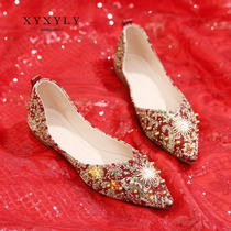 Flat wedding shoes female bride shoes 2019 new show wo shoes Red Wedding Shoes pregnant women Chinese embroidery low heel shoes