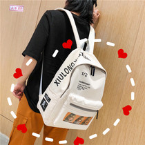Vintage sense girl bag female Korean high school students backpack Sen Department simple wild campus ins backpack
