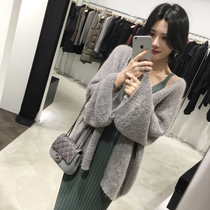 2019 Spring and Autumn New Mahai hair knit cardigan womens mid-length Korean version loose slim lazy sweater jacket