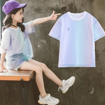Pikachu co-branded mesh gradient t-shirt girl top summer new mesh childrens short-sleeved loose T-shirt