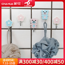 Camellia hook load-bearing creative sticky hook home kitchen bathroom door after the tile free punch traceless hook 2 loaded