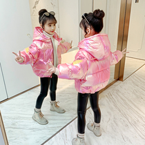 Girls cotton clothing 2019 new Korean version of the winter childrens foreign air short paragraph down cotton padded clothes girl cotton jacket in the Big child
