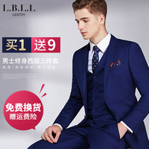 High-end suits summer mens groom dress slim business suits summer Korean version of the wedding suit male suit wedding