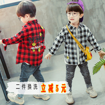 Childrens clothing boys shirt 2019 new summer large childrens style cotton plaid Korean long-sleeved childrens shirt tide