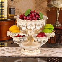 European fruit plate living room ceramic fruit plate decoration rotatable dried fruit plate multi-function double large candy plate
