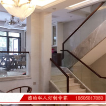 Hangzhou staircase handrail indoor tempered glass handrail floor handrail solid wood railing overall staircase custom