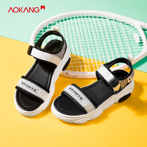 (Store delivery) aokang shoes 2019 summer new fashion tide mixed color thick bottom sports sandals women