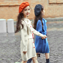 Girls dress 2019 new autumn style autumn skirt long-sleeved little girl princess dress childrens wear knit skirt
