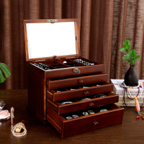 Solid wood jewelry box wooden lock jewelry storage box five-story watch storage box jewelry box jewelry storage box