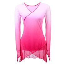 Classical dance body suit womens net yarn long-sleeved yarn clothing body rhyme practice gradient color dance practice coat Chinese style