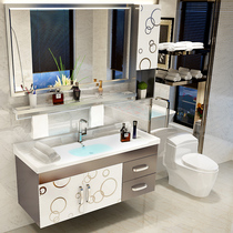 Stainless steel bathroom cabinet combination hand wash basin cabinet Vanity modern simple bathroom bathroom cabinet hanging cabinet