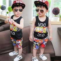New boys childrens clothing Summer Short Sleeve childrens suit camouflage baby 0-1-2-3-4 years old clothes vest two.