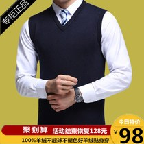 Middle-aged mens autumn and Winter new cashmere vest wool vest V-neck large size middle-aged waistcoat sweater sweater
