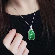 Pendant Jade Jade Ruyi female models a goods full of green ice leaves pendant male Fu melon Guanyin not inlaid peace buckle