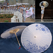 Photography Blue flower Porcelain oil paper classical umbrella peony Jiangnan Craft Umbrella Restaurant ceiling Decorative road with cheongsam dance Umbrella
