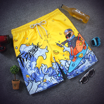 Beach pants mens tide brand summer loose big code quick dry pants casual seaside flower shorts couple cartoon pants