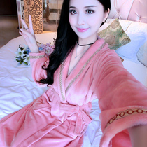 Autumn and winter season Chinese long flannel robe lady sexy pure bathrobe yu robe thickened coral velvet bathrobe Pajamas