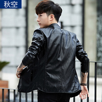 2019 autumn new mens leather jacket Korean slim trend handsome Haining PU leather jacket youth thin section