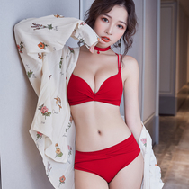 The year of the rat big red underwear suit female small chest gather no wire bra sexy diamantelle back bra