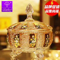 CLIMBING Czech Enamel color craft gold-plated crystal with lid Glass Candy cylinder fruit plate snack jar dried fruit plate