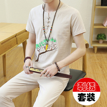 Summer Chinese style linen suit mens short-sleeved youth tide casual mens Tang suit cotton and linen embroidery two-piece summer dress