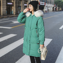 2019 New down cotton women in the long section of the Korean version of the loose ins large fur collar over the knee student coat jacket tide