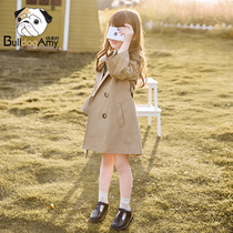 Girls windbreaker in the long section of 2019 autumn new children double-breasted British wind waist coat spring and autumn children