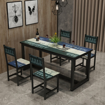 Vintage fast food restaurant table and chair combination restaurant dining table snack restaurant table 4 chair theme restaurant table and chair