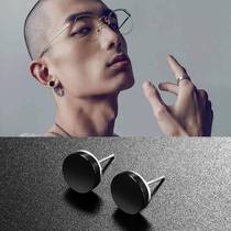 Sterling silver stud male 2019 new tide mens single personality black simple net red cold wind mens earrings