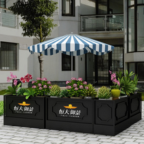 Wrought iron outdoor flower stand ground creative planting flower slot coffee restaurant partition fence mall outside the pendulum flower box custom