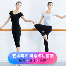 Modern dance adult Dance dress female short sleeve blouse T-shirt slimming sports yoga tight dance pants female practice suit