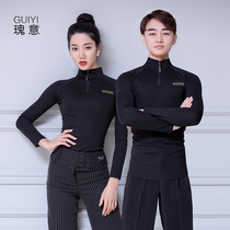 Rose Latin dance clothing modern dance shirt Female Male new adult high collar long sleeve national standard dance clothing training clothing