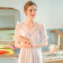 Fairy Wind Princess pajamas summer thin section sexy nightdress long section female knee Court wind pregnant women skirt spring and autumn loose