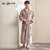 Korean version of pajamas men winter coral velvet robe thickened long paragraph flannel large size bathrobe mens autumn winter home service