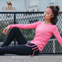(Camel 2018) Outdoor Sports womens knitted T-shirt sports trousers running Fitness Yoga costume