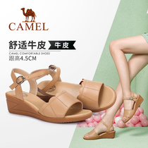 Camel shoes 2019 summer new sandals soft leather comfortable summer Korean version of the wild sandals women