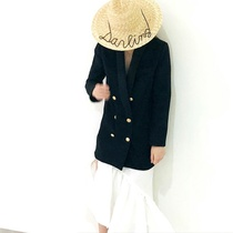 18ss European niche design fashion catwalk Beach Resort shade straw hat English embroidery fashion straw hat