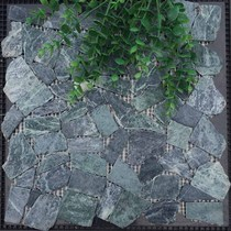Stone mosaic walls afflict marble large flowers and green pieces cobble cobble graphite green landscape pool bathroom pool fish pond.