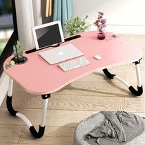 Student dormitory bed computer table large folding simple cute children learning writing desk lazy wooden table