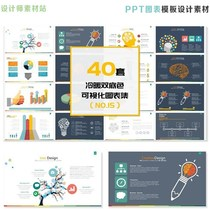 40 sets of double background information visualization work report summary report chart PP template design material
