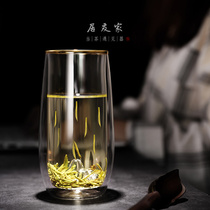 Net red glass green tea cup gold glass drinking glass milk Cup hommes et femmes transparent double anti-hot tea cup accueil