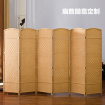 Grass rattan screen partition folding solid wood hotel dressing room entrance living room bedroom mobile folding screen Chinese simple