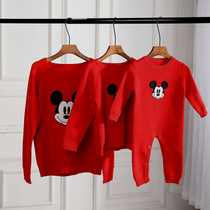 New Year parent-child loaded Mickey sweater plus velvet Chen Chen mother baby baby rat year mother and child family three foreign Qi