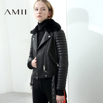 Amii minimalist Korean casual Rex rabbit fur collar leather female autumn minority Winter new loose sheep skin aviator jacket